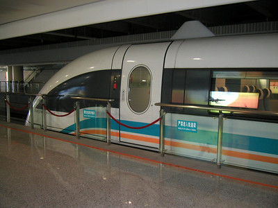 Mag Lev train at Longyang Road station in Pudong  march 2004