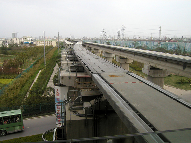 the guide rails at Longyang Road station in Pudong  march 2004