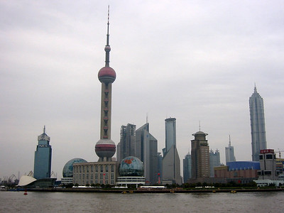 Pudong, Huangpu River, from the Bund, Shanghai, March 2004