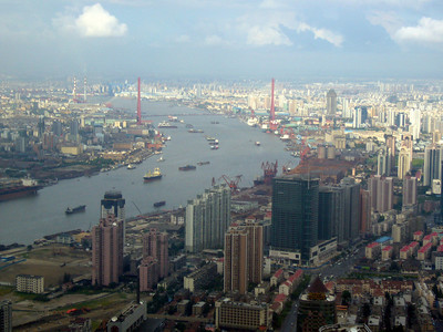 Huangpu River from Jun Mao Tower, Hyatt, Pudong, Shanghai  Aug 2006