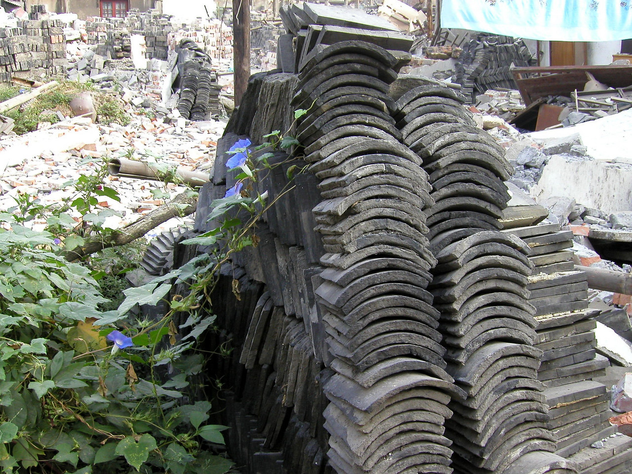 old roof tiles stacked up