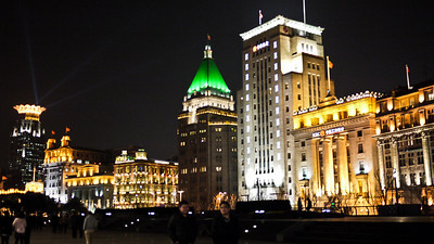 Nighttime views from The Bund in Shanghai, China