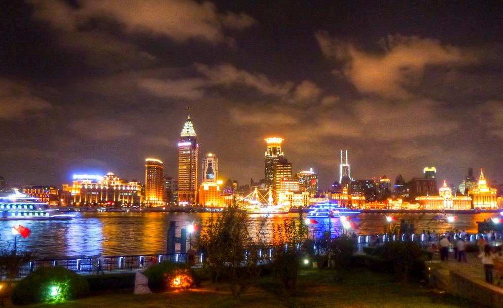 shanghai at night lights