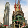 Jin Mao Tower and The Shanghai Tower under construction