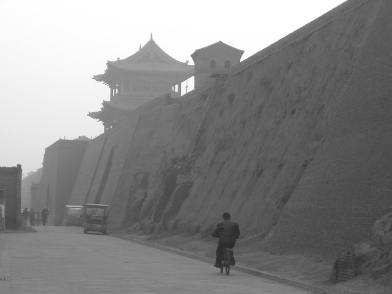 Riding Along the Wall - Pingyao, China