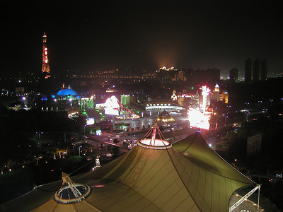 The Windows of the World theme park in Shenzhen at night , from the Crowne PLaza Hotel, in 2002