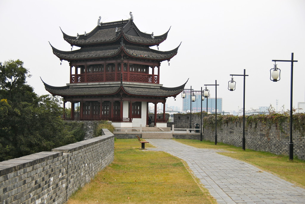 Old City Wall and Guard Tower - Suzhou, China - Photo