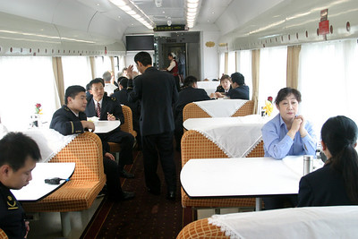 the one dinning car, where we spent most of the days. They wanted you to leave when the crew cam to eat but they would leave you alone if you didn't move on. Qinghai -Beijing to Tibet Railway, Beijing to Lhasa  Oct  2006