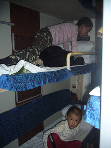 getting comfy.. Qinghai -Beijing to Tibet Railway, Beijing to Lhasa  Oct  2006
