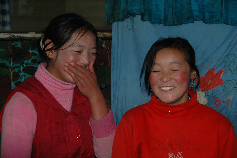 Shy Tibetan Girls - Xiahe, China