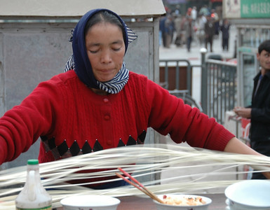 Xinjiang Food, Laghman Noodles - Kashgar, China