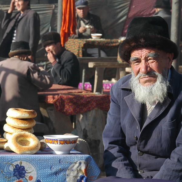 Older Uighur Man on Tea Break - Kashgar, China