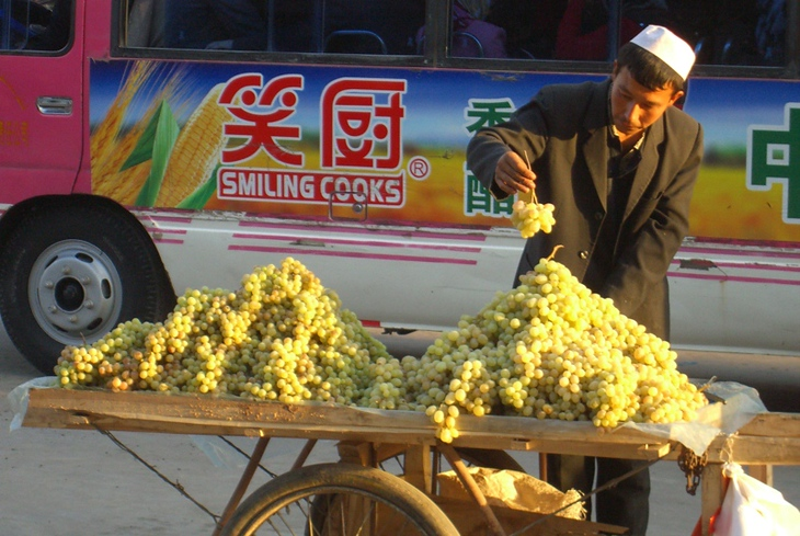 Uighur Grape Vendor - Kashgar, China