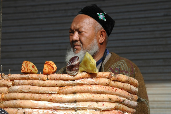 Xinjiang Food: Stacked Sausages - Kashgar, China