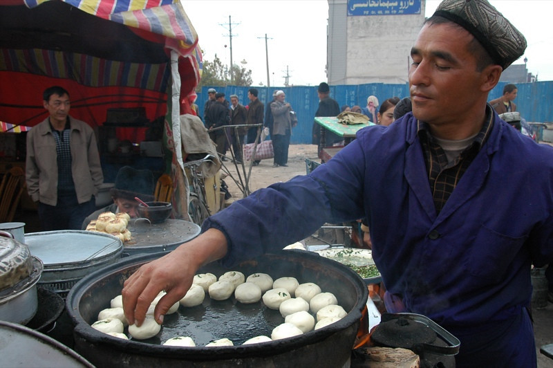 Uighur Man Selling Dumplings - Kashgar, China