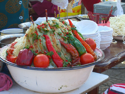 Xinjiang Food: Peppers on Noodles - Kashgar, China