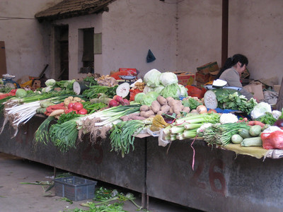 Vegetable stand in the Muslim Quarter in Xi'an