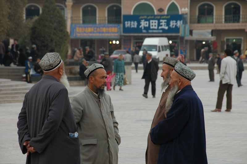 Elder Uighur Discussions - Kashgar, China