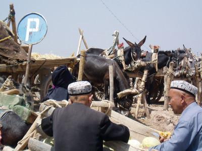 donkey parking, kashgar markets