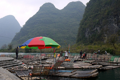 Tourist rafts are a great way to take in the pretty scenery around Yangshuo, China.