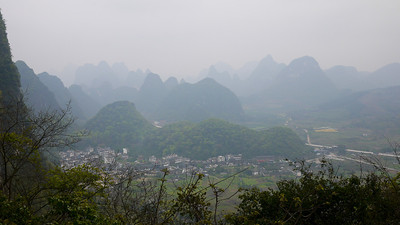 The views over the pretty countryside from Moon Hill outside of Yangshuo, China.