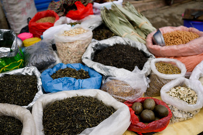 Spices and teas, seasonings and bags of yuminess at the Fuli Market near Yangshuo, China.