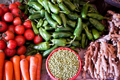 A pretty array of veggies are all laid out at the Fuli Market near Yangshuo, China.