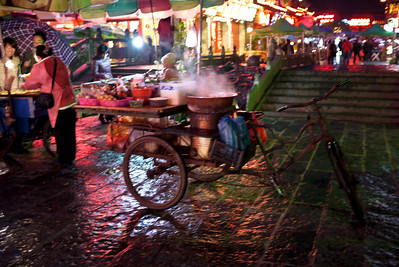 Steaming cart of street food in Yangshuo, China.