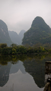 The karst rocks and jutting limestone from the Li River near Yangshuo, China.