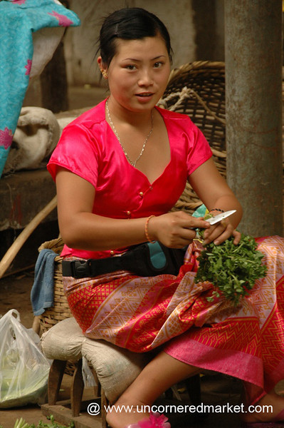 Gasa Market, Vendor Trimming Herbs - Xishuangbanna, China