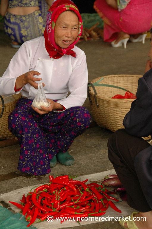 Red Chillies and Headscarf - Xishuangbanna, China