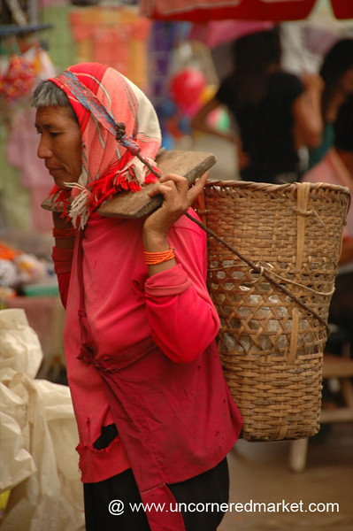 Woman Carrying Basket - Xishuangbanna, China