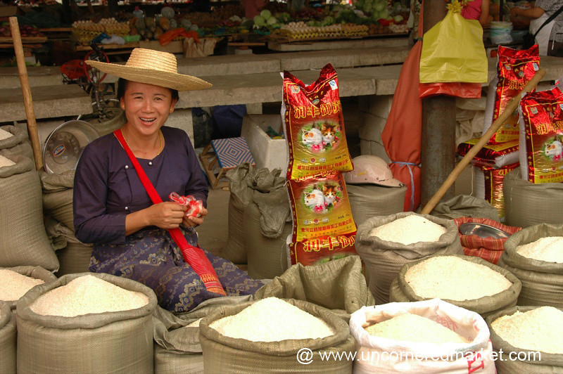 Smiling Dai Rice Vendor - Xishuangbanna, China