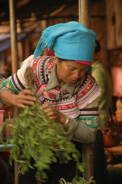 Hani Woman with Fresh Herbs - Yunnan, China