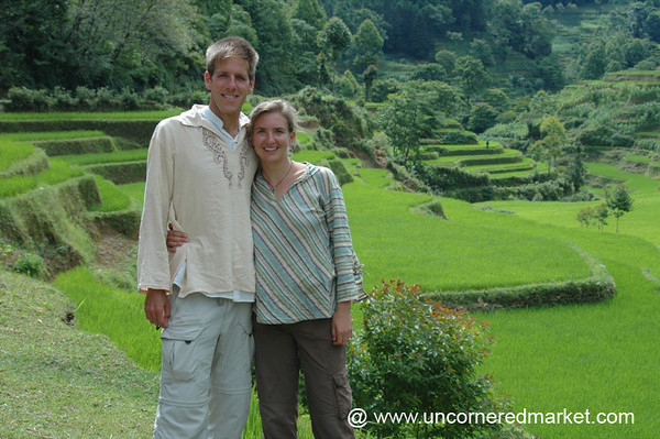 Audrey and Dan at Yuanyang Rice Terraces - Yuanyang, China