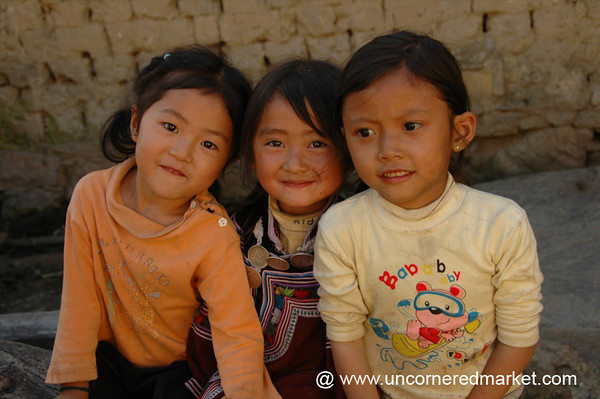 Smiling Hani Girls - Yuanyang, China