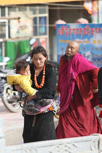 Tibetan woman and child, Xiahe.
