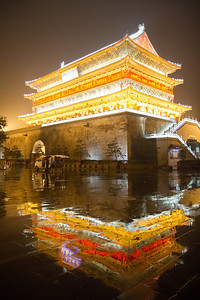 Xian drum tower at night.