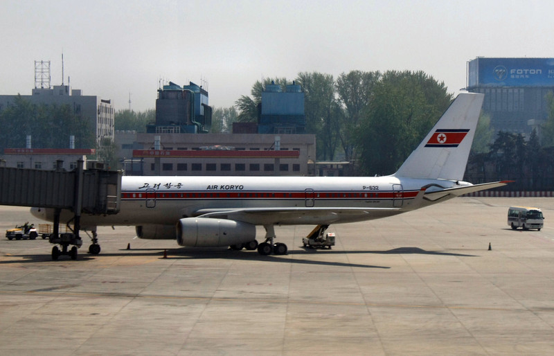 Air Koryo, the official North Korean airlines.  China is one of North Korea's two allies so the airline makes flights from Pyongyang to Beijing.