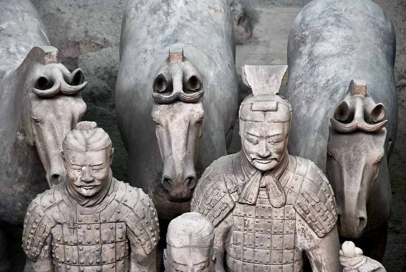 Terracotta warriors wearing armors