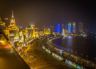 The Bund at night. Shanghai, China.