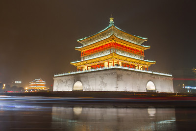 Bell tower in Xian in the rain at night.
