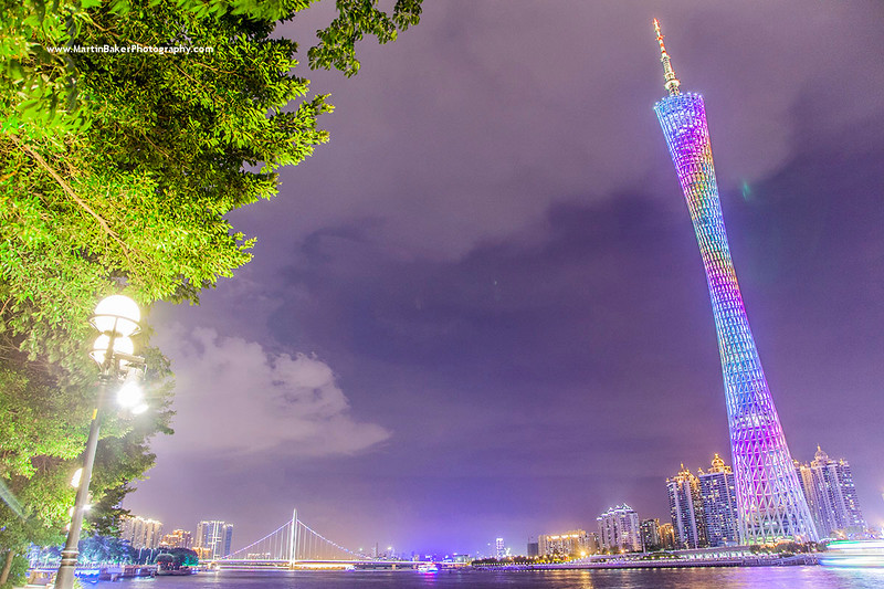 Canton Tower and Pearl River, Guangzhou, Guangdong, China.