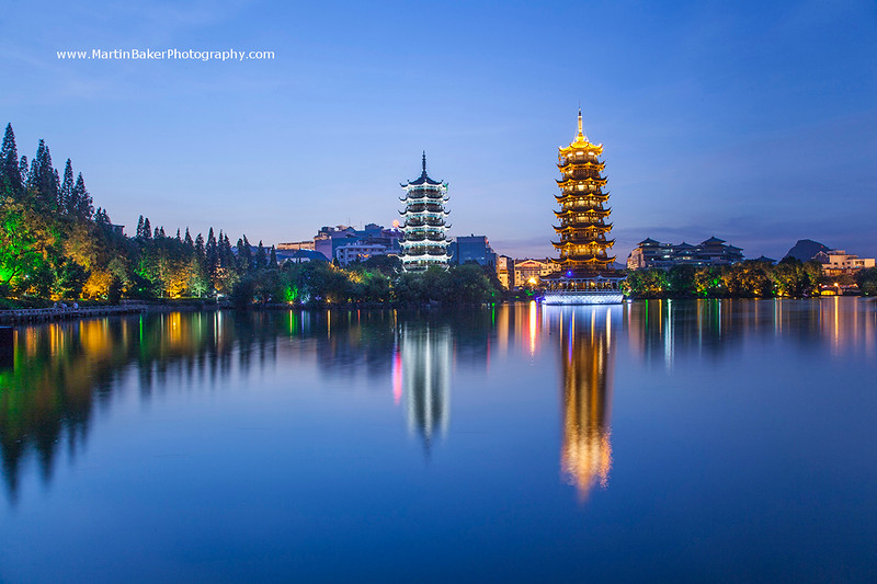 Sun and Moon Pagodas, Guilin, Guangxi, China.