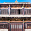 facade of typical ancient imperial China nobility house, a single window open