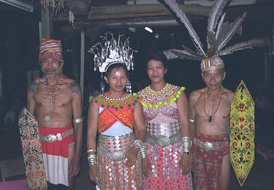 Cultural show in the longhouse, Skrang river