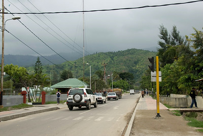 Shot of a street in Dili with view of mountain at the background