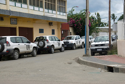 UN Vehicles parked along the street in Dili, East Timor