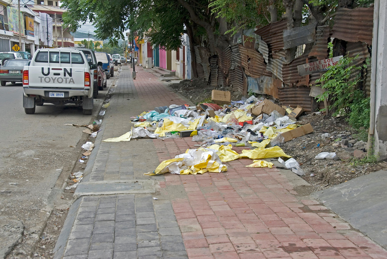 Garbage scattered on a side street in Dili, East Timor