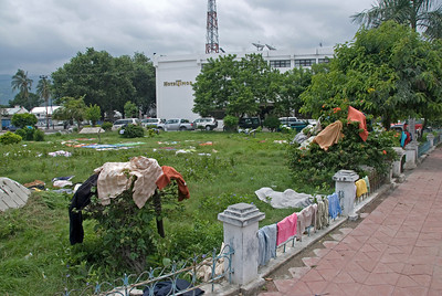 Clothes hung to dry at an open space at the back of Hotel Timor in Dili